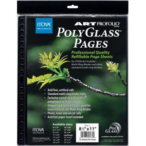 "Itoya® Art Profolio® PolyGlass® Refill Pages 11"" x 17""; Color: Clear; Material: Polypropylene; Refill: Yes; Size: 11"" x 17""; (model PR1117), price per pack"
