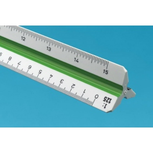 Alvin® 740PM Series 30cm High Impact Plastic Metric Triangular Scale; Color: White/Ivory; Material: Plastic; Size: 30 cm; Type: Metric; (model 743PM), price per each