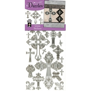 "Dazzles™ Stickers Crosses Silver; Color: Metallic; Size: 4"" x 9""; Type: Outline; (model HOTP2036), price per each"