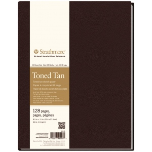 "Strathmore® 400 Series 8 1/2"" x 11"" Sewn Bound Toned Tan Sketch Art Journal: White/Ivory, Journal, 128 Sheets, 8 1/2"" x 11"", Sketching, (model ST469-8), price per each"