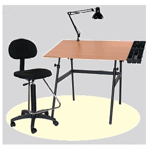 Martin Berkeley 4-pc Combo Black with Cherrywood Top, Tray Lamp and Drafting Ht. Chair: Modle # U-DS14041BW