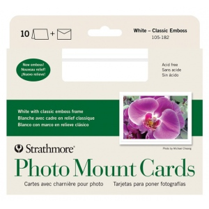"Strathmore® Embossed Photo Mount Cards 10-Pack; Color: White/Ivory; Format: Card; Quantity: 10 Cards; Size: 5"" x 6 7/8""; Type: Mounting; (model ST105-182), price per 10 Cards"