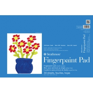 "Strathmore® 100 Series 12"" x 18"" Tape Bound Fingerpaint Pad: Tape Bound, White/Ivory, Pad, 30 Sheets, 12"" x 18"", Painting, (model ST27-118-1), price per 30 Sheets pad"