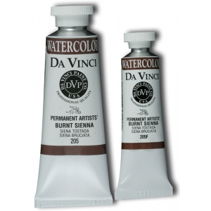 Da Vinci Artists' Watercolor Paint 15ml Burnt Sienna; Color: Brown; Format: Tube; Size: 15 ml; Type: Watercolor; (model DAV205F), price per tube