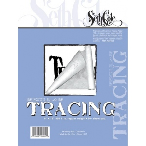 "Seth Cole 9"" x 12"" Tracing Paper Pad; Format: Pad; Quantity: 50 Sheets; Size: 9"" x 12""; Texture: Fine; Weight: 25 lb; (model SC56D), price per 50 Sheets pad"