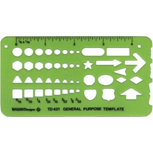 "Alvin® General Purpose Template; Size: 2 3/4"" x 5 1/4"" x .030""; Type: General Purpose; (model TD421), price per each"