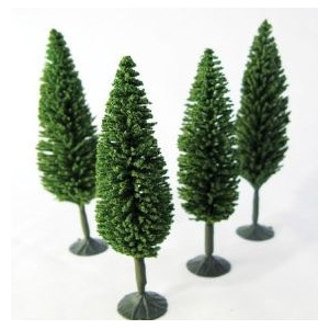 """Wee Scapes™ Architectural Model Poplar Trees 4-Pack: Green, Wire, 4-Pack, 3 1/2"""" - 4"""", Tree, (model WS00328), price per 4-Pack"""
