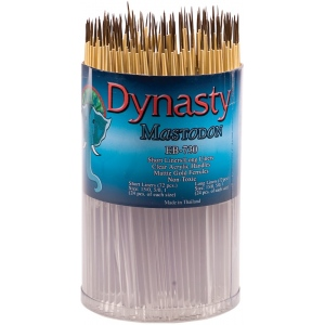 Dynasty® EB-700 Mastodon Canister Series Short Liner and Long Liner Brush Assortment: Short Handle, Synthetic, Liner, Acrylic, Oil, (model EB730D), price per each