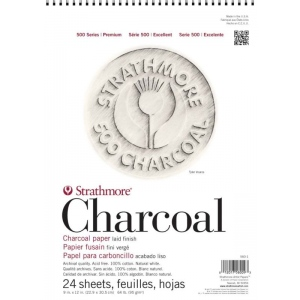 "Strathmore® 500 Series 12"" x 18"" White Wire Bound Charcoal Pad: Wire Bound, White/Ivory, Laid, Pad, 24 Sheets, 12"" x 18"", Charcoal, 64 lb, (model ST560-2), price per 24 Sheets pad"