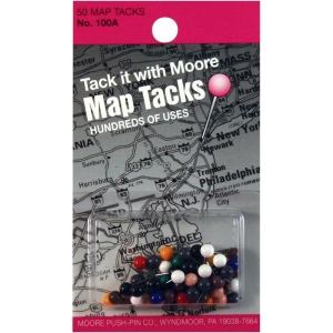 """Moore 5/16"""" Map Tacks 50-Pack; Color: Multi; Size: 5/16""""; (model M100A), price per pack"""