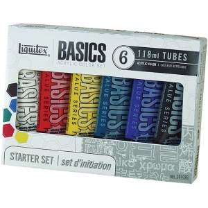 Liquitex® Basics Acrylic 6-Color Set; Color: Multi; Format: Tube; Size: 4 oz; Type: Acrylic; (model 101076), price per set