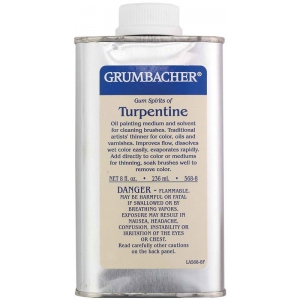 Grumbacher® Turpentine 8oz; Format: Can; Size: 8 oz; Type: Solvents; (model GB5688), price per each