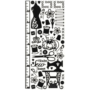 """Dazzles™ Stickers Black Sewing; Color: Black/Gray; Size: 4"""" x 9""""; Type: Outline; (model HOTP1672), price per each"""