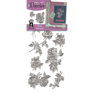 "Dazzles™ Stickers Silver Rose: Metallic, 4"" x 9"", Outline, (model HOTP1853), price per each"