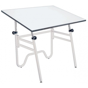 """Alvin® Opal Table White Base White Top 31"""" x 42""""; Angle Adjustment Range: 0 - 45; Base Color: White/Ivory; Base Material: Steel; Height Range: 29"""" - 44""""; Top Color: White/Ivory; Top Material: Melamine; Top Size: 31"""" x 42""""; (model OP42-4), price per each"""