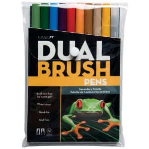 Tombow® Dual Brush® 10-Color Secondary Pen Set: Multi, Double-Ended, Dye-Based, Brush Nib, Fine Nib, Brush Pen, (model 56168), price per set