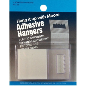 Moore Adhesive Hanger; Color: White/Ivory; Material: Plastic; Shape: Square; (model M86), price per pack