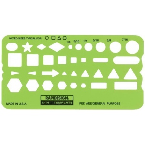 "Rapidesign® Pee-Wee General Purpose Template; Scale: 1/8"" - 7/16""; (model 14R), price per each"