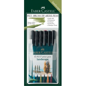 "Faber-Castell PITT Artist Pen ""Landscape"" Color: Wallet of 6 pens"