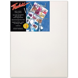 "Fredrix® Artist Series 12 x 16 Watercolor Stretched Canvas; Color: White/Ivory; Format: Sheet; Size: 12"" x 16""; Stretcher Strips: 11/16"" x 1 9/16""; Type: Stretched, Watercolor; (model T5534), price per each"
