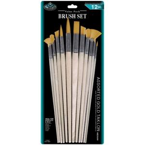 Royal & Langnickel® Gold Taklon Combo Brush Set: Multi, Gold Taklon, Multi, Multi, (model RSET-9607), price per set