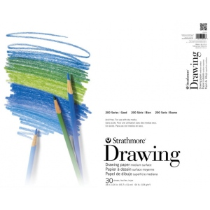 """Strathmore® 200 Series 5.5"""" x 8.5"""" Tape Bound Drawing Pad; Binding: Tape Bound; Color: White/Ivory; Format: Pad; Quantity: 40 Sheets; Size: 5 1/2"""" x 8 1/2""""; Weight: 64 lb; (model ST25-005), price per 40 Sheets pad"""