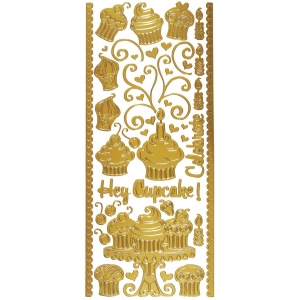 "Dazzles™ Stickers Hey Cupcake Gold; Color: Metallic; Size: 4"" x 9""; Type: Outline; (model HOTP2013), price per each"
