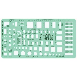 "Timely® 1/8"" Scale Furniture Template; Scale: 1/8"" = 1'; (model 133T), price per each"