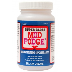 Mod Podge® Super Gloss 8 oz. Glue Sealer and Finish; Finish: Gloss; Format: Bottle; Size: 8 oz; Type: All Purpose; (model PLCS11297), price per each
