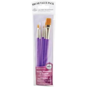 Royal & Langnickel® 9100 Series  Zip N' Close™ Purple 5-Piece Brush Set 1: Short Handle, Taklon, Round, Shader, Wash, Acrylic, Tempera, Watercolor, (model RSET-9130), price per set