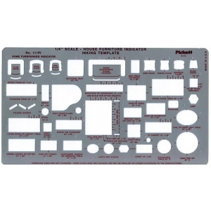 "Pickett® House Furniture Indicator Template; Scale: 1/4"" = 1'; (model 111PI), price per each"