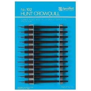 Speedball® #102 Crow Quill Pen Nibs & Holders: Black/Gray, Quill Nib, Calligraphy, (model 102C), price per pack