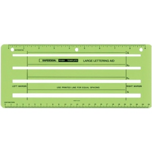 "Rapidesign® Large Lettering Aid Template; Scale: 1/4"" = 1', 1/8"", 13/16"", 5/32""; (model 924R), price per each"