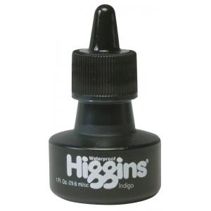 Higgins® Waterproof Color Drawing Ink Indigo: Blue, Bottle, Dye-Based, 1 oz, Waterproof, (model SN44117), price per each