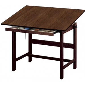 "Alvin® Titan Solid Oak Table Walnut Finish 36"" x 48"" x 37""; Angle Adjustment Range: 0 - 45; Base Color: Brown; Base Material: Oak; Height: 37""; Top Color: Brown; Top Material: Melamine; Top Size: 36"" x 48""; (model WTB48-WA), price per each"