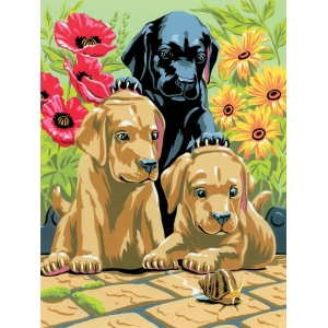 "Royal & Langnickel® Painting by Numbers™ 8 3/4 x 11 3/8 Junior Small Set Labrador Pups; Board Size: 8 3/4"" x 11 3/8""; (model PJS30), price per set"