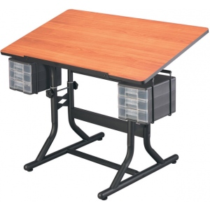 "Alvin® CraftMaster™ Art Drawing and Hobby Table Black Base with Cherry Woodgrain Top: 0 - 30, Black/Gray, Steel, 28"" - 32"", Brown, Wood, 24"" x 40"", (model CM40-3-WBR), price per each"