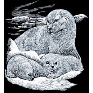 """Royal & Langnickel® Engraving Art Set Silver Foil Seal & Puppy: 8"""" x 10"""", Metallic, (model SILF16), price per set"""