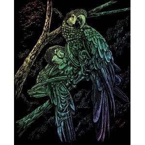 "Royal & Langnickel® Engraving Art Set Rainbow Foil Tropical Birds; Board Size: 8"" x 10""; Color: Multi; (model RAIN13), price per set"