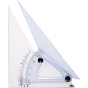 "Alvin® 10"" Computing Trig-Scale Adjustable Triangle; Angle: Adjustable; Color: Clear; Material: Acrylic; Size: 10""; Type: Triangle; (model LX710K), price per each"