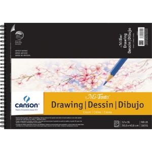"Canson® Mi-Teintes® Artist Series Artist Series Wire-Bound Drawing Pads 12"" x 16"": Wire Bound, White/Ivory, Pad, 12"" x 16"", 98 lb, (model C200006194), price per pad"