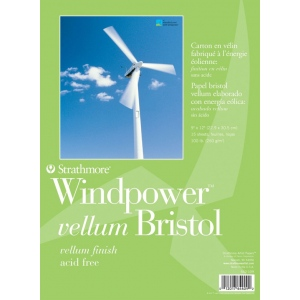 "Strathmore® Windpower™ Tape Bound Bristol Vellum Pad 9"" x 12""; Binding: Tape Bound; Color: White/Ivory; Format: Pad; Quantity: 15 Sheets; Size: 9"" x 12""; Weight: 100 lb; (model ST642-109), price per 15 Sheets pad"