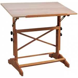 "Alvin® Pavillon Art and Drawing Table Unfinished Wood Top 24"" x 36""; Angle Adjustment Range: 0 - 60; Base Color: Brown; Height Range: 31"" - 40""; Material: Wood; Top Color: Brown; Top Size: 24"" x 36""; (model AP436), price per each"