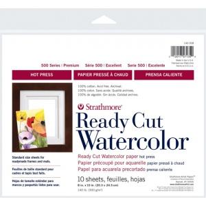 "Strathmore® 500 Series 8"" x 10"" Hot Press Ready Cut Watercolor Sheet Pack: White/Ivory, Sheet, 10 Sheets, 8"" x 10"", Hot Press, 140 lb, (model ST140-308), price per 10 Sheets"