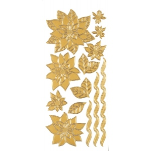 "Dazzles™ Stickers Gold Poinsettias; Color: Metallic; Size: 4"" x 9""; Type: Outline; (model HOTP1890), price per each"