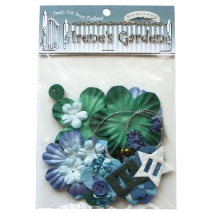 Blue Hills Studio™ Irene's Garden™ Potpourri Paper Flower & Embellishment Pack Aquas; Color: Blue, Green; Material: Paper; Size: 20 mm, 30 mm, 50 mm - 52 mm; Type: Dimensional; (model BHS39), price per pack