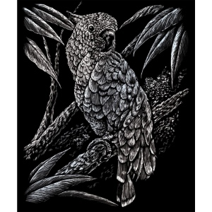 "Royal & Langnickel® Engraving Art Set Silver Foil Cockatoo; Board Size: 8"" x 10""; Color: Metallic; (model SILF18), price per set"
