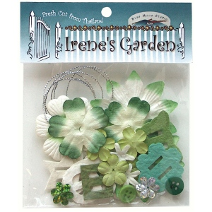 Blue Hills Studio™ Irene's Garden™ Potpourri Paper Flower & Embellishment Pack Greens; Color: Green; Material: Paper; Size: 20 mm, 30 mm, 50 mm - 52 mm; Type: Dimensional; (model BHS36), price per pack