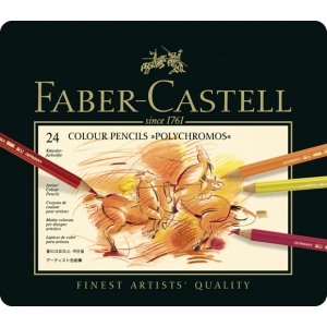 Faber Castell Polychromos Artists Colour Pencil: Tin of 24