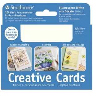 "Strathmore® 3.5 x 4.875 Fluorescent White/Deckle Creative Cards; Color: White/Ivory; Envelope Included: Yes; Format: Card; Quantity: 10 Cards; Size: 3 1/2"" x 4 7/8""; Weight: 80 lb; (model ST105-11), price per 10 Cards"